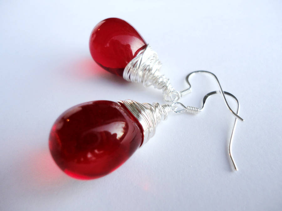 Puffy Red Valentine's Smooth Czech Glass Silver Wi by Leesa-M