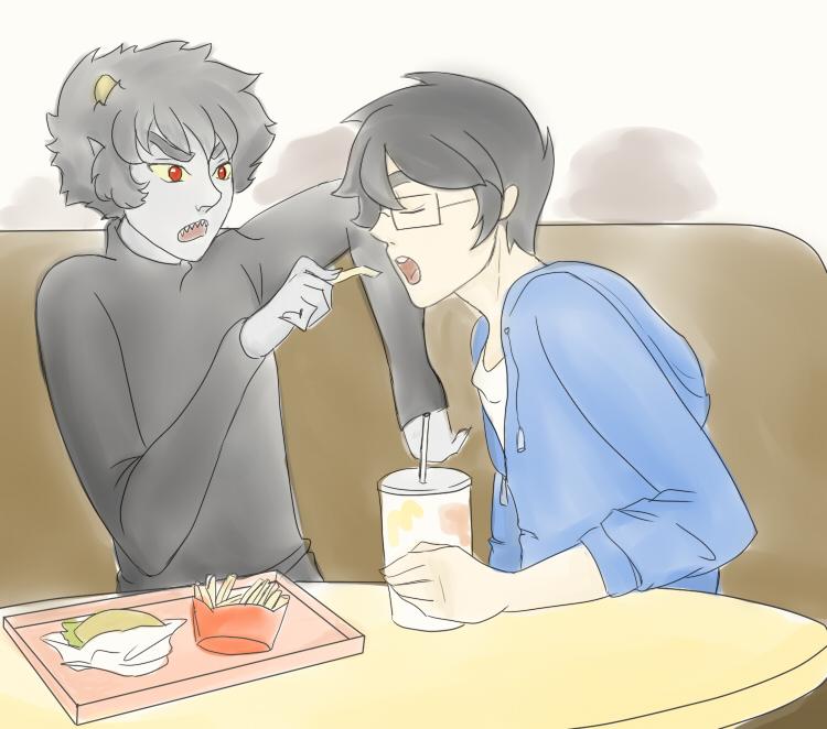 John and Karkats romantical date at McDonalds by Viral-Z