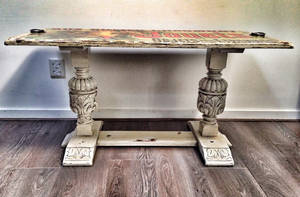 Large side table French decoupage by VintageBrocante