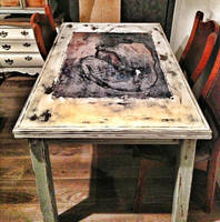 Decoupage dinning table Picasso decoupage by VintageBrocante