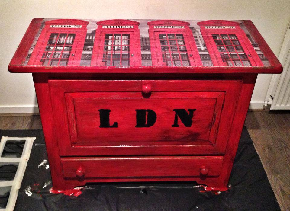 London Phone box Decoupage by VintageBrocante