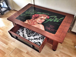 Vintage Brocante pin up reclaimed coffee table by VintageBrocante