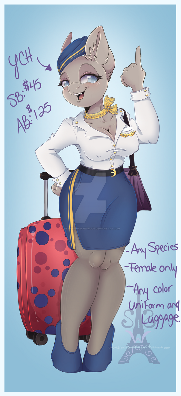 Flight Attendant YCH by Silent-Shadow-Wolf