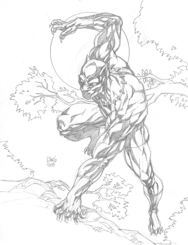 Black panther marvel drawings