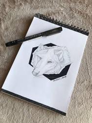 Realistic woof | Ink + grey pencil by CrimsonInside