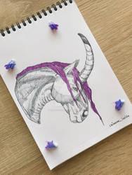 Unicorn Head| Ink + marker by CrimsonInside