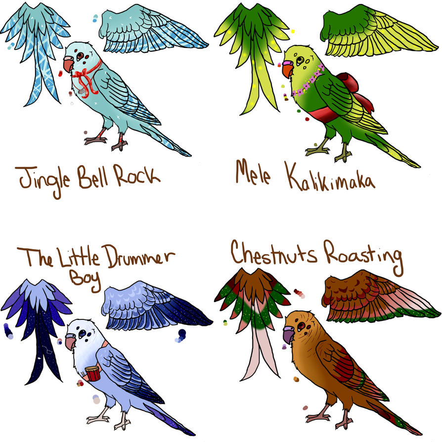 Christmas Budgie Adopts by Steampunk-Lark