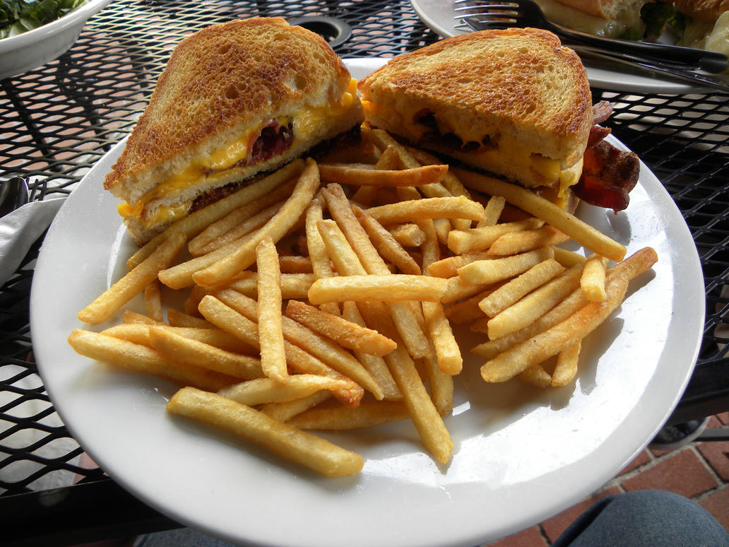 Grilled cheese with bacon and  Gourmet Grilled Cheese And Fries