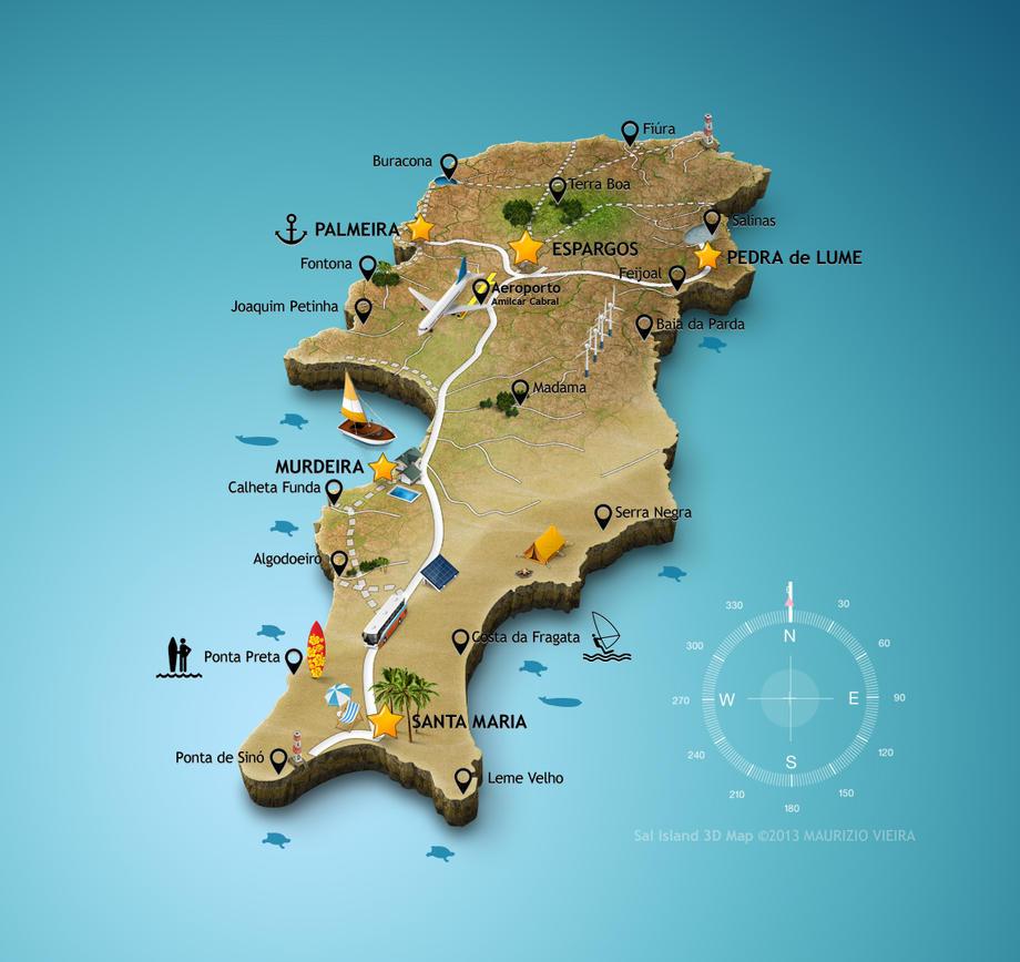 D Map Of Sal Island By Maurizio Viera Creative Maps Pinterest - Florida map viera