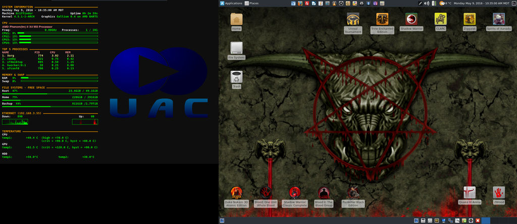 May 2016 Desktop - Arch Linux and Xfce