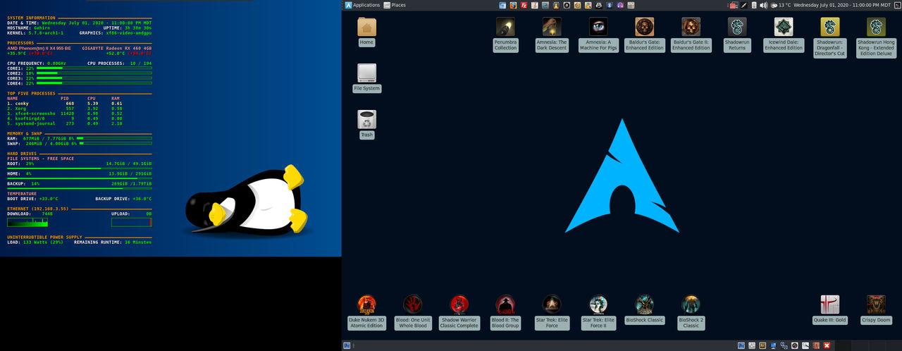 July 2020 Desktop - Arch Linux and Xfce