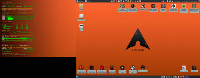 March 2021 Desktop - Arch Linux and Xfce