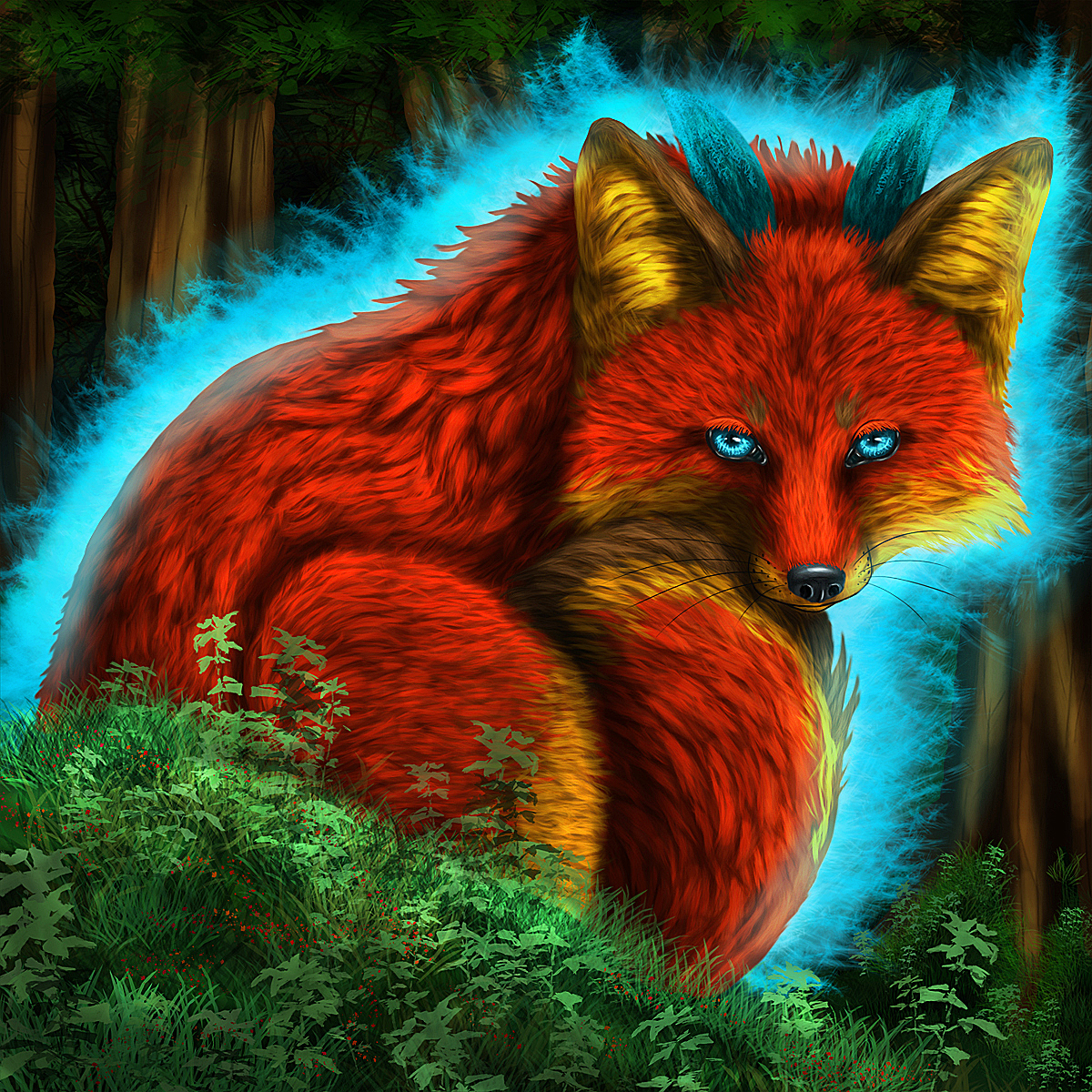 This is an image of Striking Demon Fox Drawing