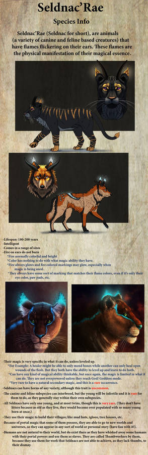 Seldnac'Rae Original Species Info