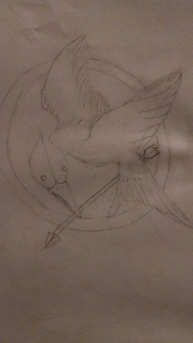 My latest drawing of the Mockingjay Pin by Teh-Zombish
