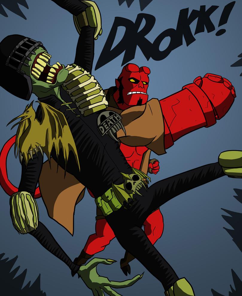 Hellboy vs Judge Death by Bleu-Ninja