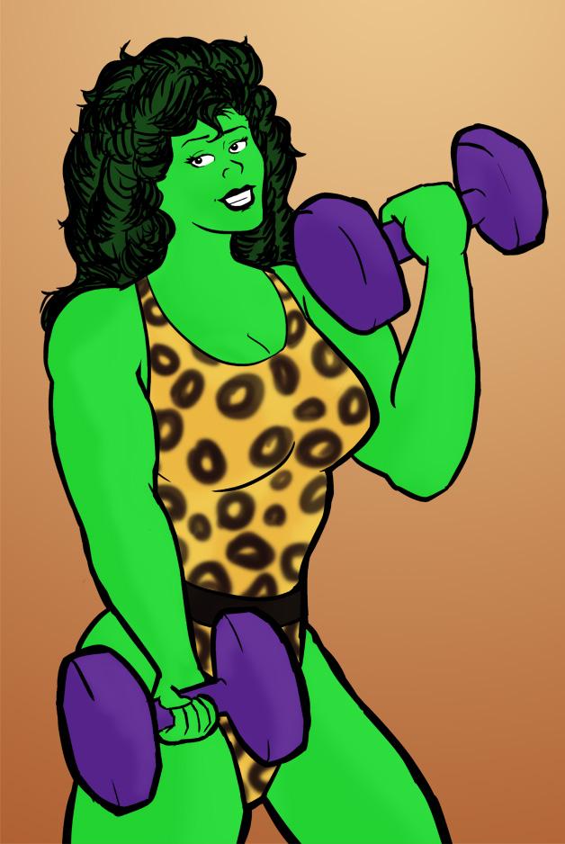 She-Hulk Working Out by Bleu-Ninja
