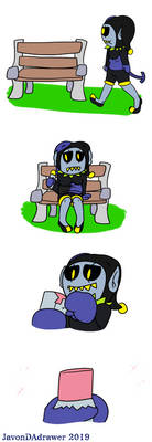 Jevil and his gum (Page 1 commission)