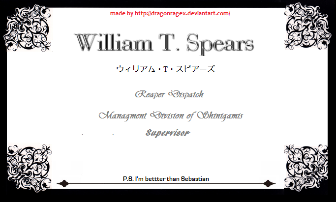 William T spears card ( for con use) by DragonRageX on ...