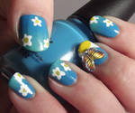3D Butterfly And Daises Gradient