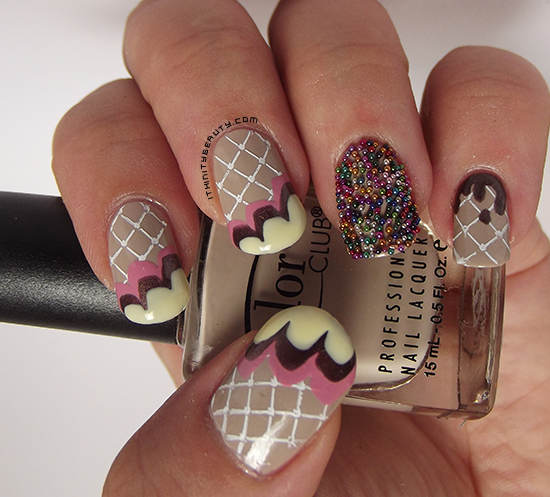 Ice Cream on waffles.. with sprinkles manicure!