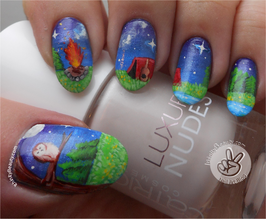 Freehand Camp Fire Nail Art By Ithfifi On Deviantart