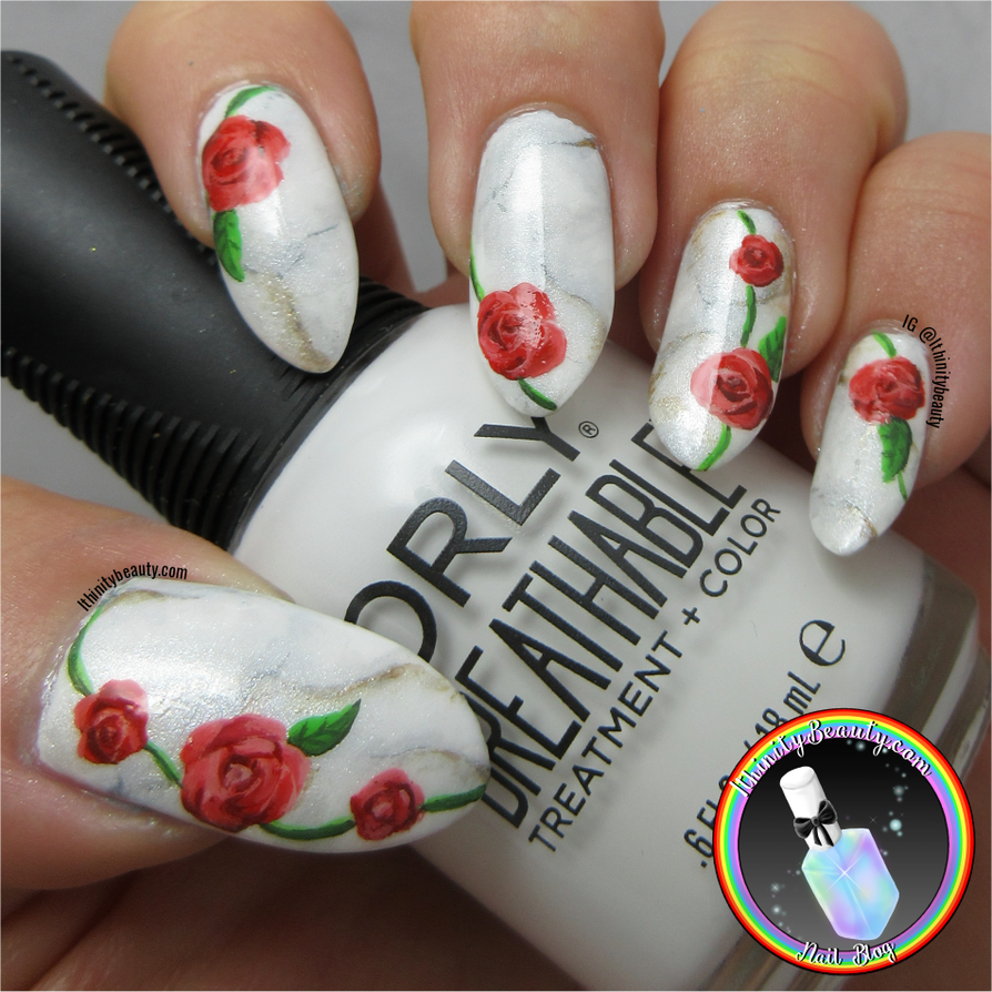 Red Roses And Marble Nail Art by Ithfifi