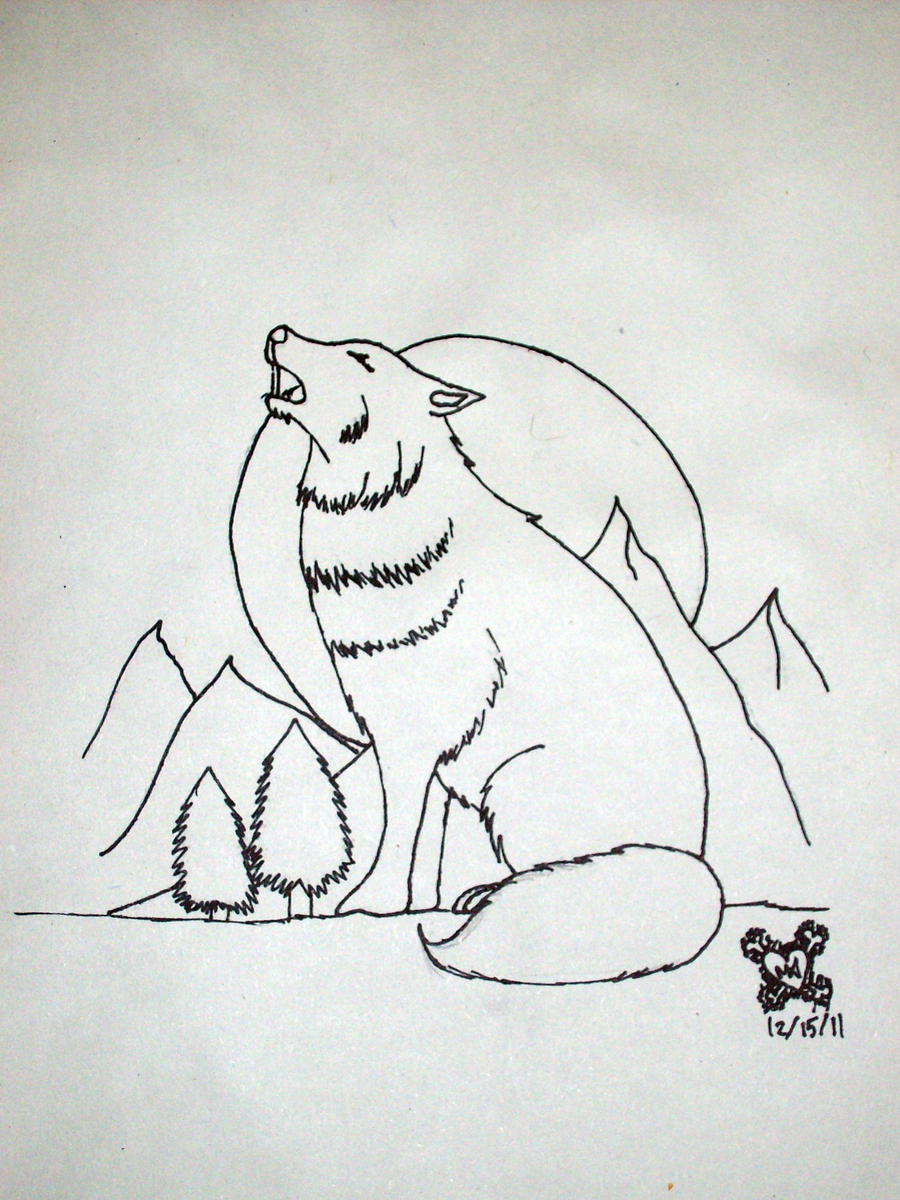 Lineart Wolf Tattoo : Howling wolf tattoo design line art by imagine the