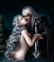 Geralt and Lady of the Lake by Risel