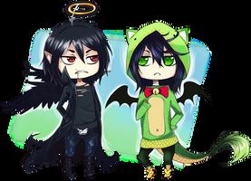 False angel and Godzilla xD by Enijoi