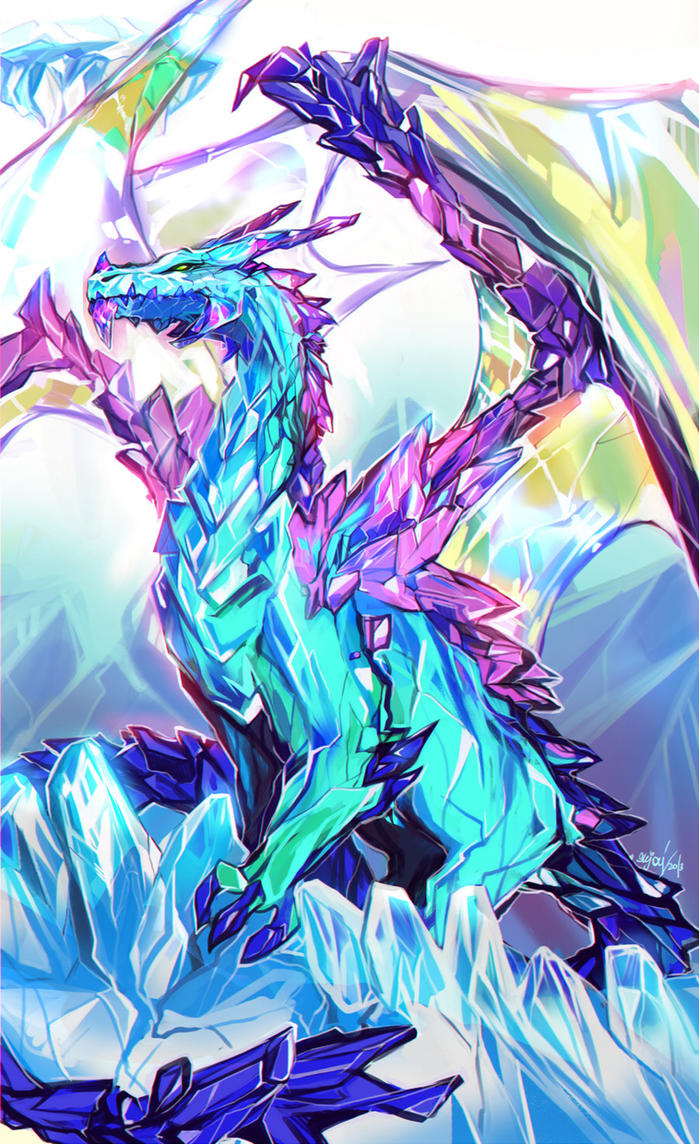 Crystal dragon by enijoi on deviantart for Paintings of crystals