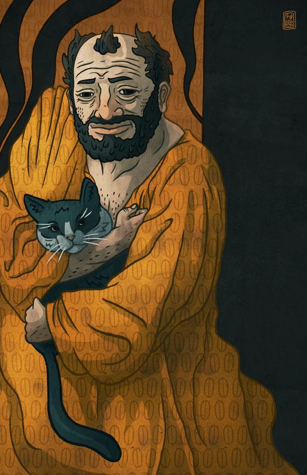 Gustav Klimt And Cat by tedikuma