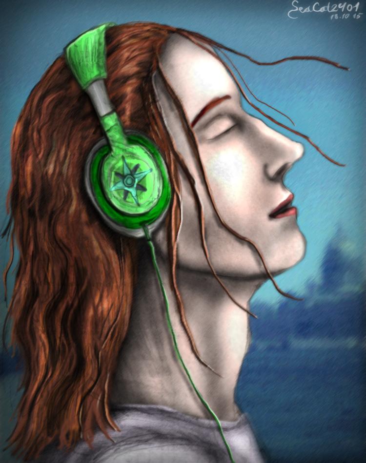 Green Headphones by SeaCat2401