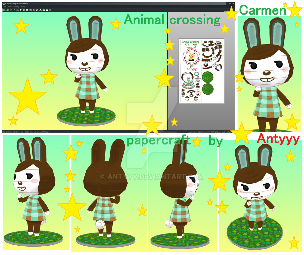 Animal crossing Carmen papercraft commission by Antyyy