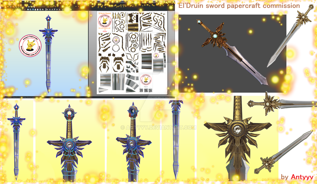 El'Druin sword papercraft commission by Antyyy