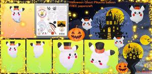 Halloween Ghost Pikachu Balloon papercraft (FREE)