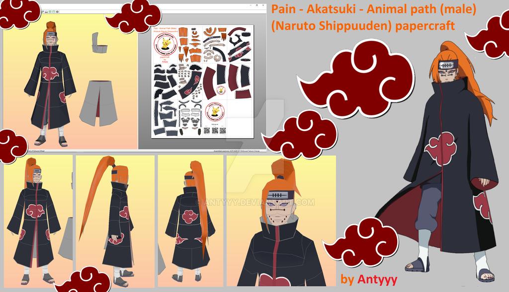 Pain - Animal path (male) - Akatsuki papercraft by Antyyy