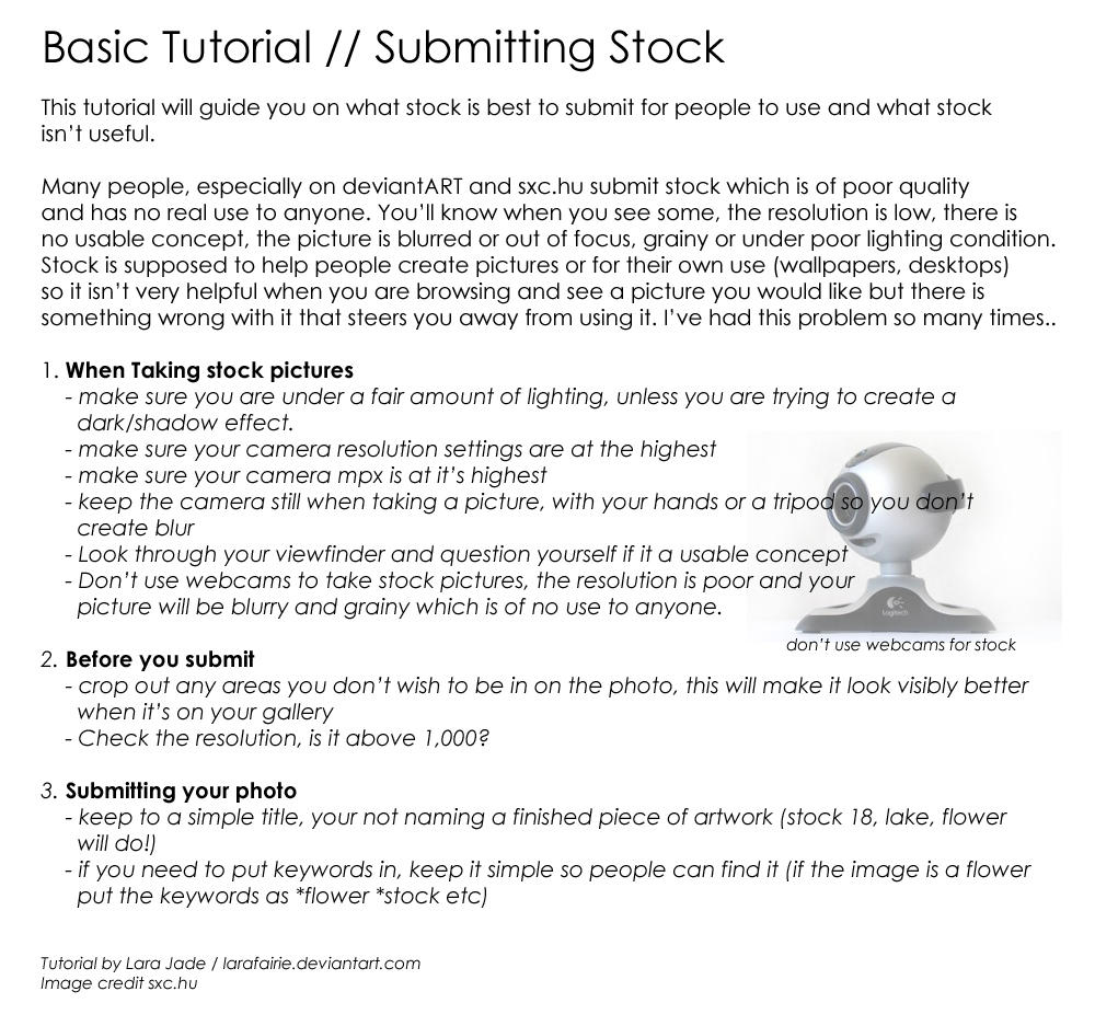 Tutorial - Submitting Stock by larafairie-stock