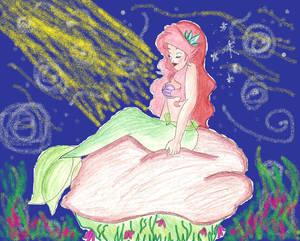 Ariel On Rock Background