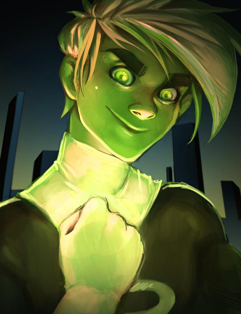 .:Glowing Green Eyes:. by BlissfulGold