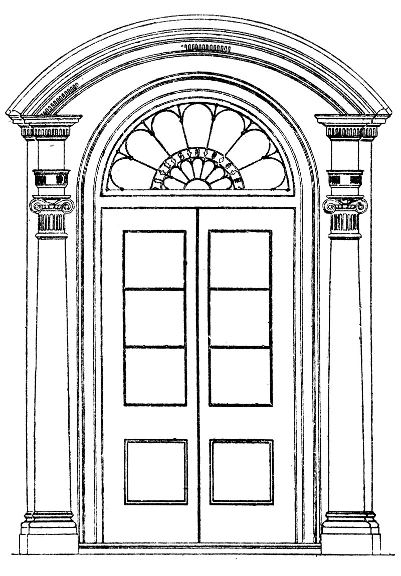 House Coloring Page With French Doors