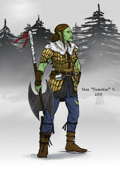 Pathfinder - half orc barbarian