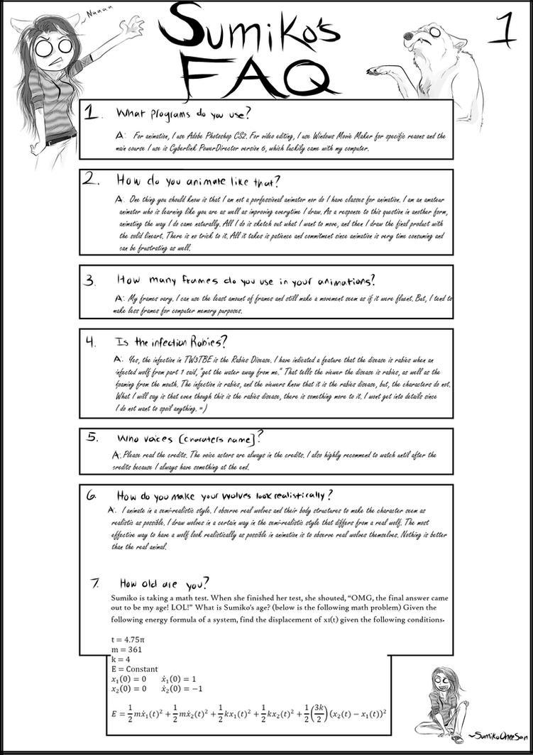 Sumiko's FAQ 1 by SumikoOneeSan