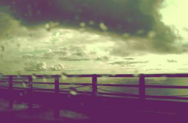 Mackinac Bridge and Rain by daseinimmer