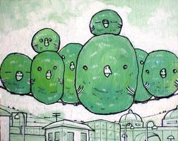 Fat Green Birds on a Wire by scribblehutsam
