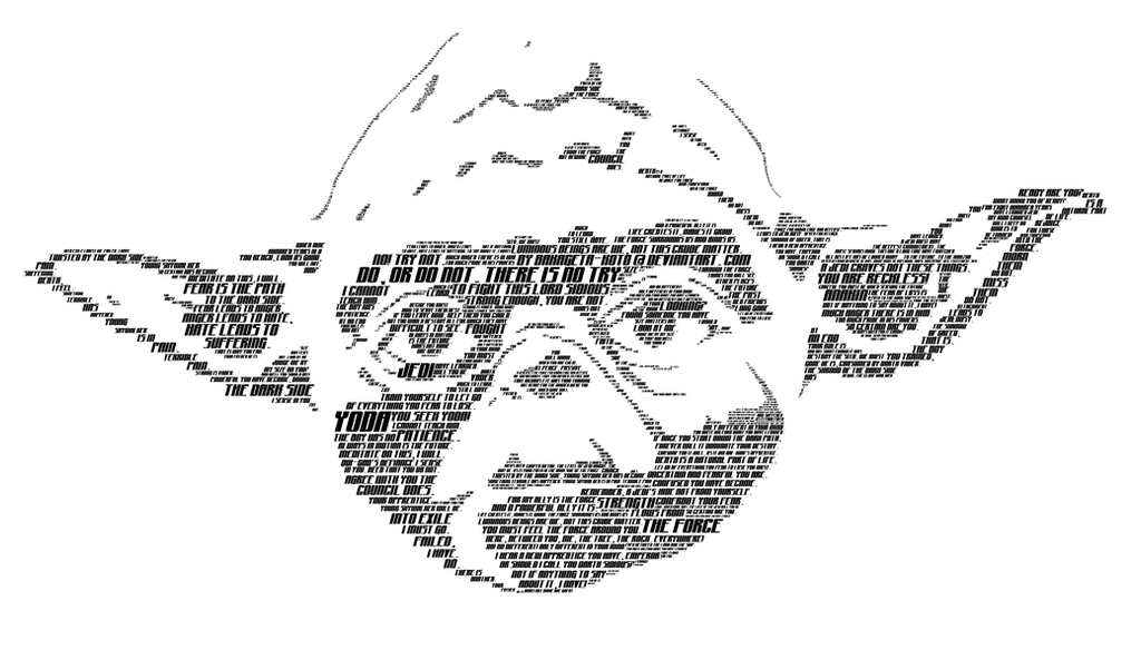 Typographic Yoda by Bakageta-Koto