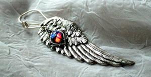 Angel Wing Earrings with Dragon's Breath Opal