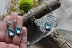 Aquamarine Earrings with Swarovski crystals hypoal