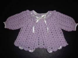 Lavender baby sweater by Crochet-by-Clarissa