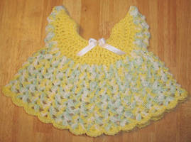 Yellow Pinafore dress front by Crochet-by-Clarissa
